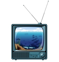 retro tv with sea view vector image