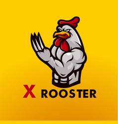 Rooster mascot logo design knife-nailed vector