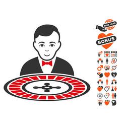 Roulette dealer icon with love bonus vector