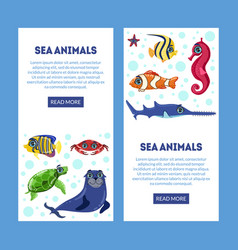 sea animals landing page with cute colorful vector image