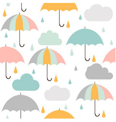 seamless pattern with clouds rain and umbrella vector image