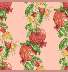 Seamless pattern with vertical pomegranate fruit vector