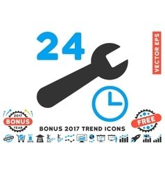 Service Hours Flat Icon With 2017 Bonus Trend vector