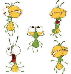 Set of cute cartoon fireflies ani vector