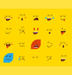 set of emoticons stickers emoji vector image