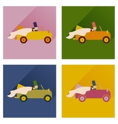 Set of flat icons with shadow bride and groom car vector
