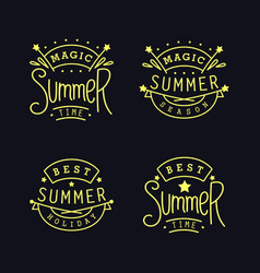 Set of thin line summer labels vector