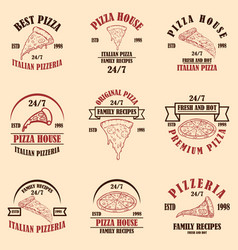 set pizza house pizzeria emblems design vector image