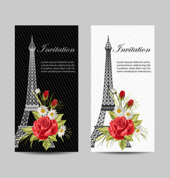 set vertical banners with eiffel tower and vector image