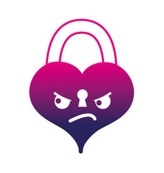 Silhouette angry heart padlock kawaii personage vector