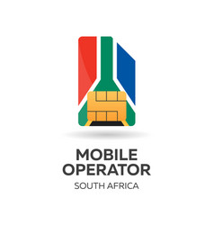 south africa mobile operator sim card with flag vector image