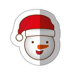 sticker face cartoon snowman christmas design vector image