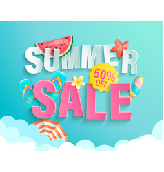 summer 2020 sale banner wig hot season elements vector image