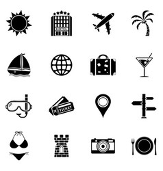 summer and beach icons vacation icon set vector image
