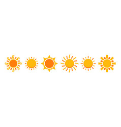sun icon set isolated vector image