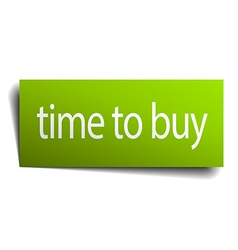 time to buy square paper sign isolated on white vector image