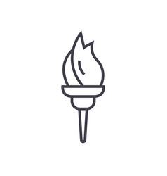 torch line icon sign on vector image