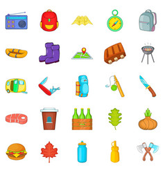 Tourist places icons set cartoon style vector