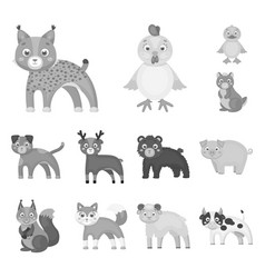 toy animals monochrome icons in set collection for vector image