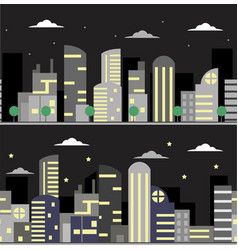 Two banners with night city vector