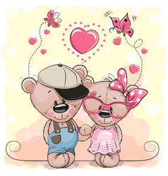 Two bears on a hearts background vector