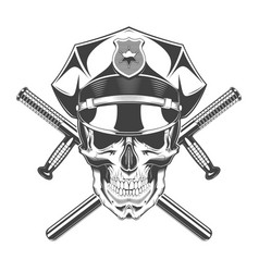 vintage monochrome skull with police headdress and vector image