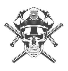 vintage monochrome skull with police headdress vector image