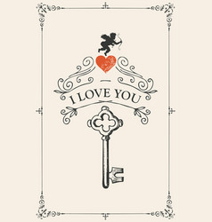 vintage valentine card with key heart and cupid vector image