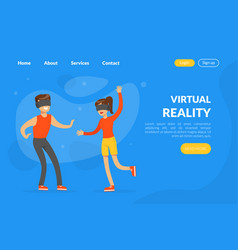 virtual reality landing page template people vector image