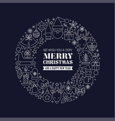 white christmas greetings at blue background vector image