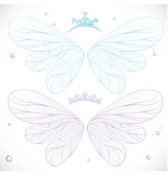 Winter blue and violet fairy wings with tiara vector