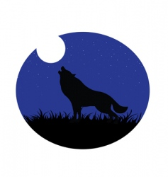 wolf howling moon vector image