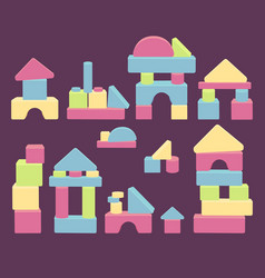 Wooden brick house game balance for kids vector