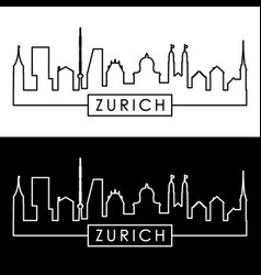 Zurich skyline linear style editable file vector