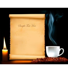 background with old paper and cup of coffee vector image vector image