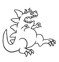 cartoon big angry dinosaur vector image