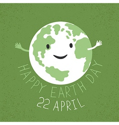 Earth Day Earth smiling and reveals a hug Grunge vector image vector image