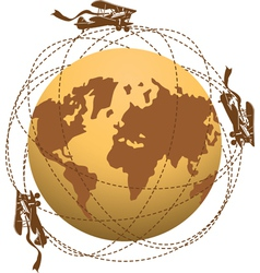 globe and planes vector image vector image