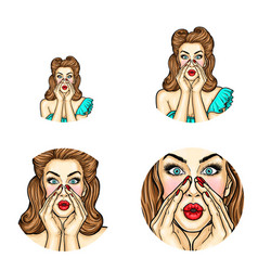 pop art avatar of pin up girl holding her vector image vector image