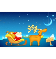 Santa Claus riding in sledge on Christmas vector image vector image