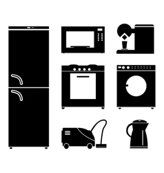 Set of black icons of household appliances vector image