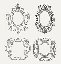 Set of vintage frames design elements vector image