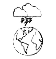 Silhouette earth planet with cloud ray icon vector
