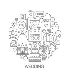 wedding in circle - concept line for vector image vector image