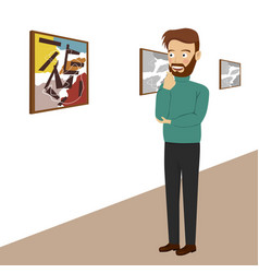 young man in gallery looking at abstract paintings vector image