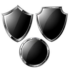 black steel shields vector image vector image