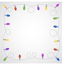 Christmas garland with colorful light bulbs vector image