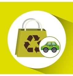 eco car bag shop icon environment vector image vector image