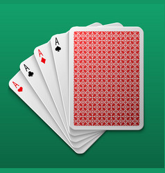four aces poker playing card on game table casino vector image vector image