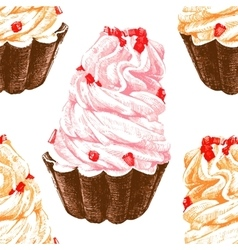 Hand drawn seamless pattern with cupcakes vector image